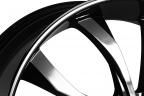LEXANI LUST WITH LIP Black with Machined Face, Groove and Covered Lugs