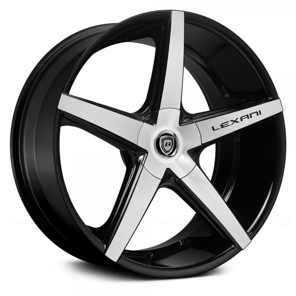 LEXANI R-FOUR Gloss Black with Machined Face and Covered Lugs