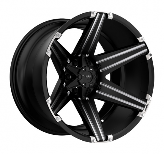 TUFF - T12 Satin Black with Milled Spokes and Brushed Inserts