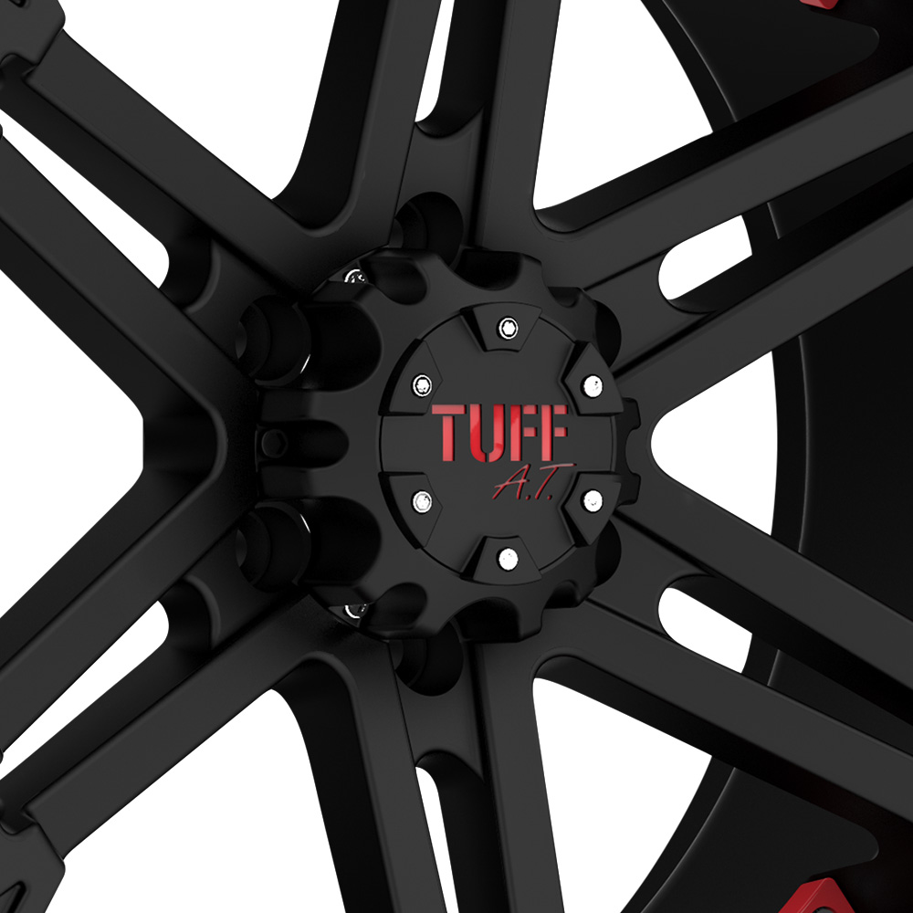 TUFF T01 Flat Black with Red Inserts